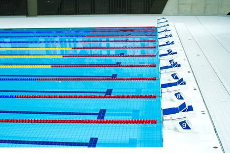 starting lanes of olympic seized swimming pool Stock Photo - 12689823