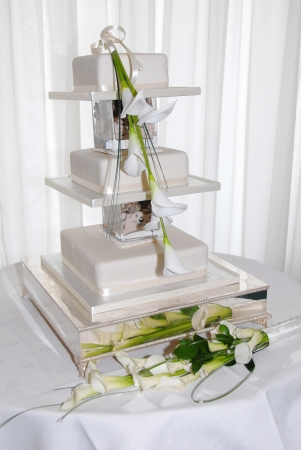 wedding cake three tier with carla lily Stock Photo