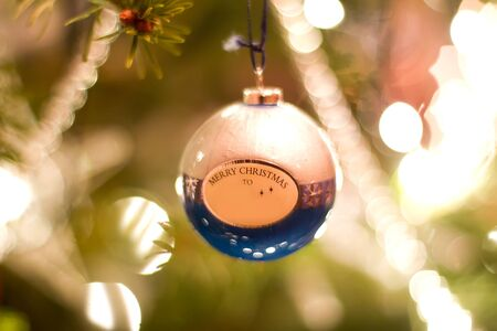 Merry christmas bauble with copy space for your name Stock Photo - 14945054