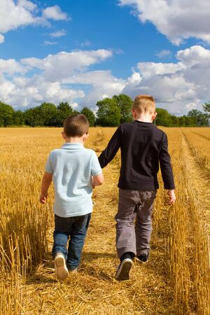 two boys holding hands in the wheat fields Stock Photo - 15044219