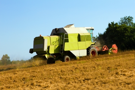 farm vehicle cutting the crops in summer photo