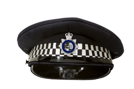 police flat cap isolated on white Stock Photo