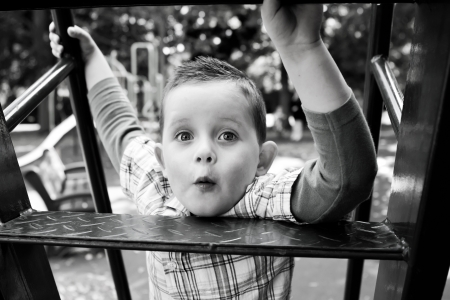 cute little boy playing on the slide Stock Photo - 15945773