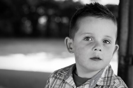 boy in the park black and white portrait Stock Photo - 15945752