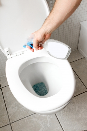 anti bacterial soap: cleaning toilet with spray cleaner