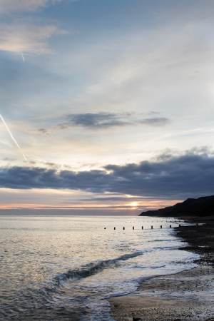 Sunset at the beach at Cromer Norfolk, East Anglia Stock Photo