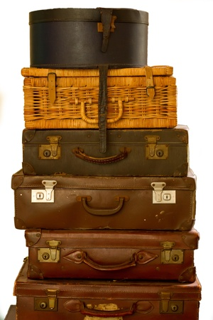 old fashioned suitcases isolated