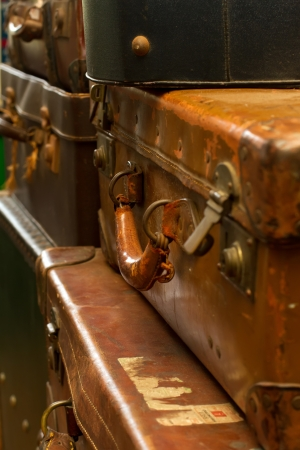 old fashioned suitcases  photo
