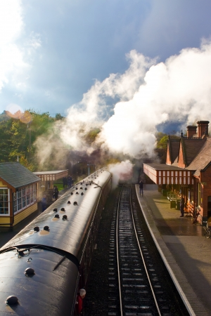 steam engines: Steam engines on an old english railroad