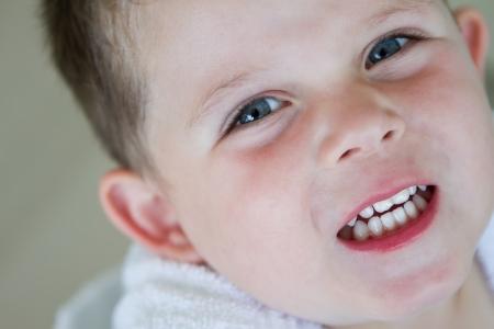 little boy smiling wearing his bath robe Stock Photo - 16803333
