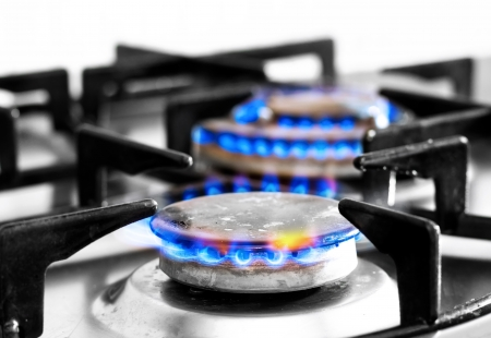 cooker gas hob with flames burning