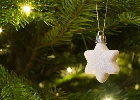 christmas star hanging on the christmas tree Stock Photo - 16803343