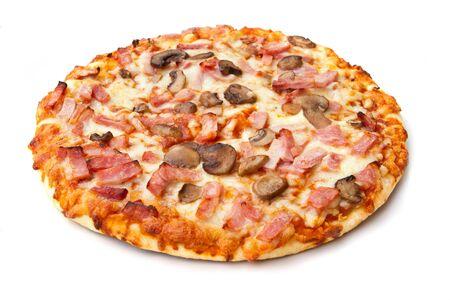 ham and mushroom pizza on white