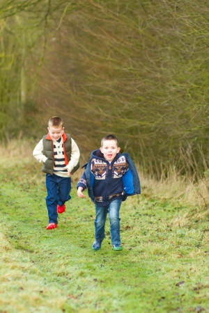 brothers in a country field in the winter Stock Photo - 17277093