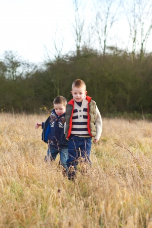 brothers in a country field in the winter Stock Photo - 17277102