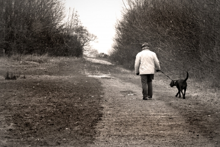 old man walking the dog Stock Photo