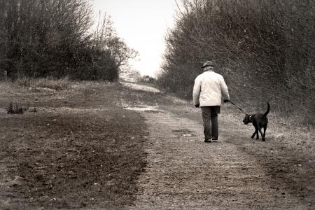 old man walking the dog Stock Photo