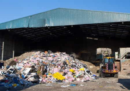 waste management: rubbish piled up at a waste management centre