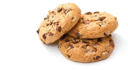 biscuit: three chocolate chip homemade cookie biscuits Stock Photo