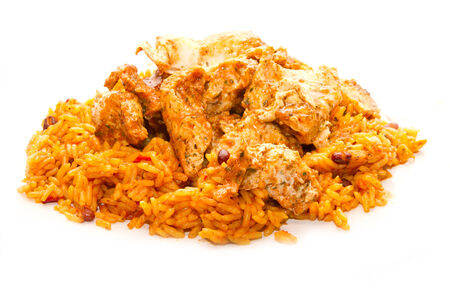 mexican chicken and rice with hot seasoning photo