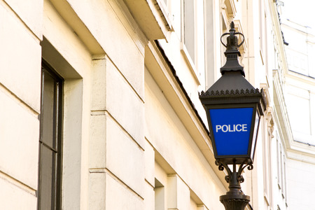 view of traditional police station lamp in England