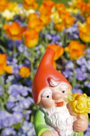 nain de jardin: Nain de jardin de fleurs Banque d'images