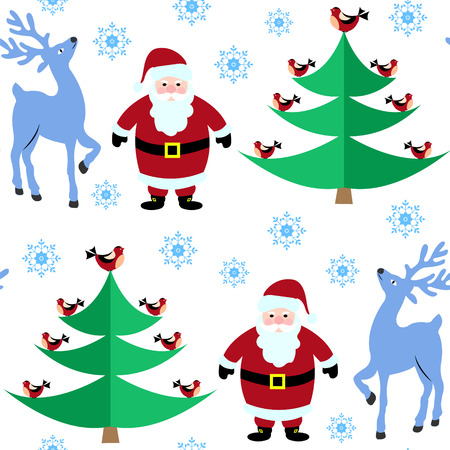 Seamless pattern with Christmas reindeer and Santa Claus in the winter forest, bird sitting on the tree.
