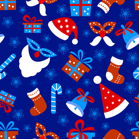 Seamless pattern background with Christmas items, snowflakes on a blue background