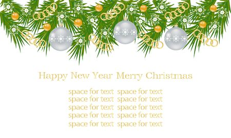 Christmas banner, card with Christmas tree branches. Christmas balls, gold chains and ornaments, white snowflakes and a place for text.