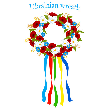 Illustration of the Ukrainian wreath of flowers with colorful ribbons, field flowers, poppies, chamomile, cornflower, national symbol. Imagens - 90753334
