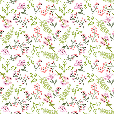 Seamless pattern with small flowers and leaves on a white background.