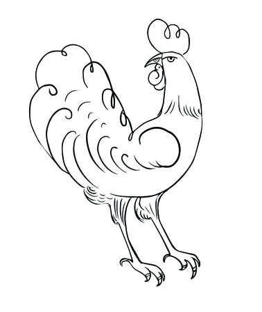 Rooster coloring for adults. Symbol of the New Year.
