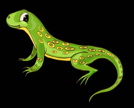 salamandre: Lézard, personnage mignon, objet isolé sur dos noir