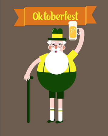 Oktoberfest character grandpa.Grandfather with a glass of beer, folk costumes. Poster. Flat design vector illustration Illusztráció