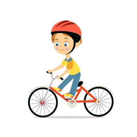 Happy little boy in helmet riding bicycle. Cartoon flat style.