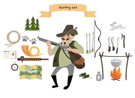 Hunting icon set. Flat style. Vector illustration