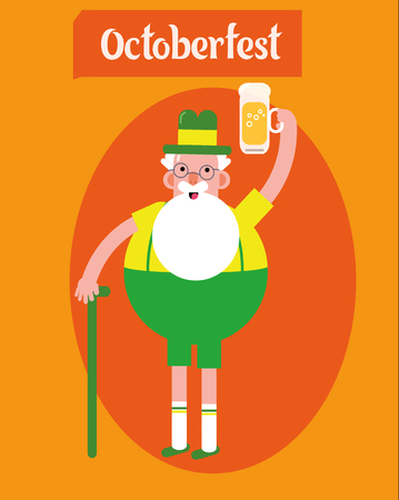 oktober: Oktoberfest character grandpa.Grandfather with a glass of beer, folk costumes. Poster. Flat design vector illustration.