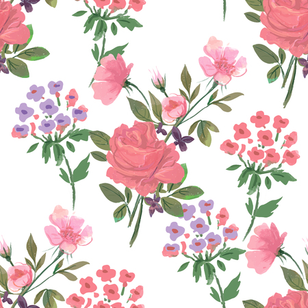 Vintage pattern with flowers, roses and hydrangea