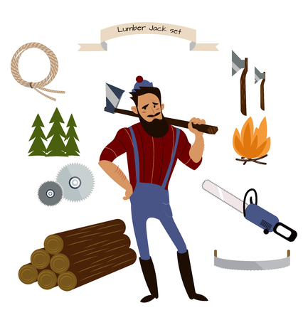 Lumberjack, timber and woodworking tools vector icons isolated on white background