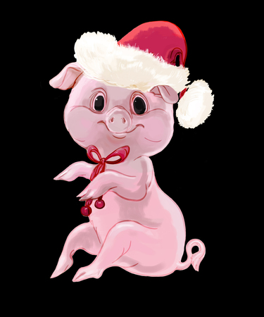 cute new year pig isolated on black background Stock fotó