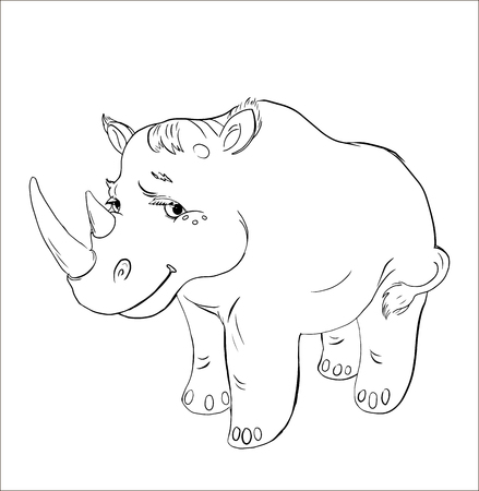 Rhinoceros. Black and white contour for coloring