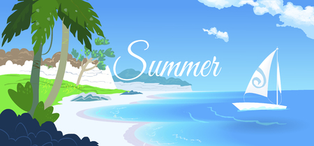 Beautiful beach, palm trees and boats on the beach. Illusztráció