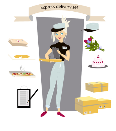 Express delivery, set. Young girl courier with a parcel, letter, cake, pizza, flowers, in hand