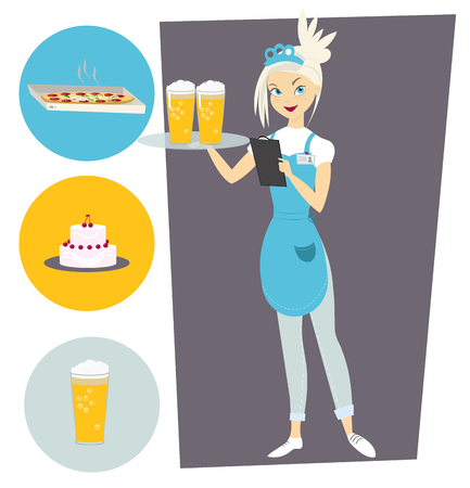 Waitress with a tray and a beer. Set with objects Illusztráció