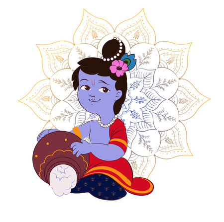 radha: Creative cartoon illustration,poster or banner for indian festival of janmashtami celebration