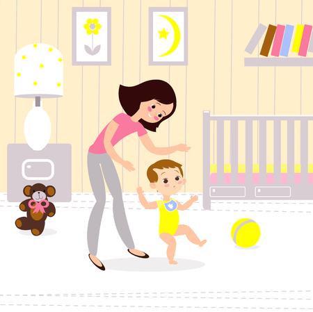 Moeder en baby in de kinderkamer. De eerste seps van het kind