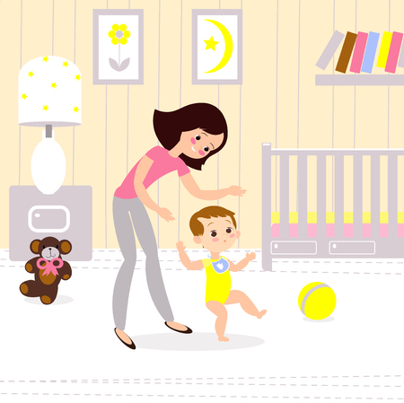 Mom and baby in the childrens room. The first seps of the child Illustration