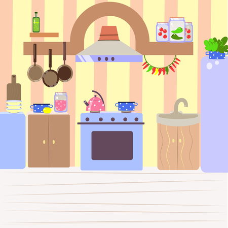 Cute cozy kitchen, flat cartoon interior