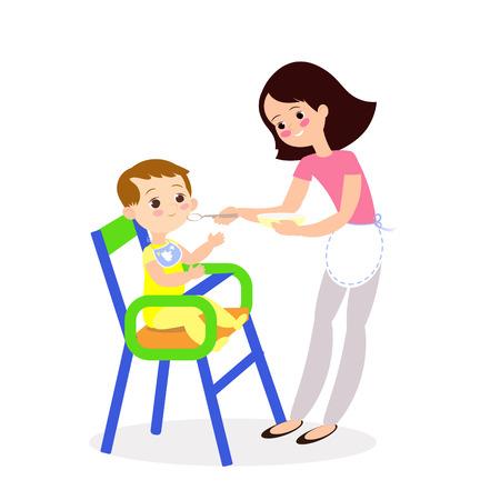 Mom feeds baby, cute cartoon characters