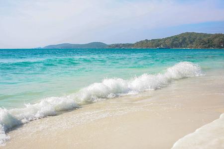 plantas del desierto: Mar azul con espuma blanca en la isla tropical